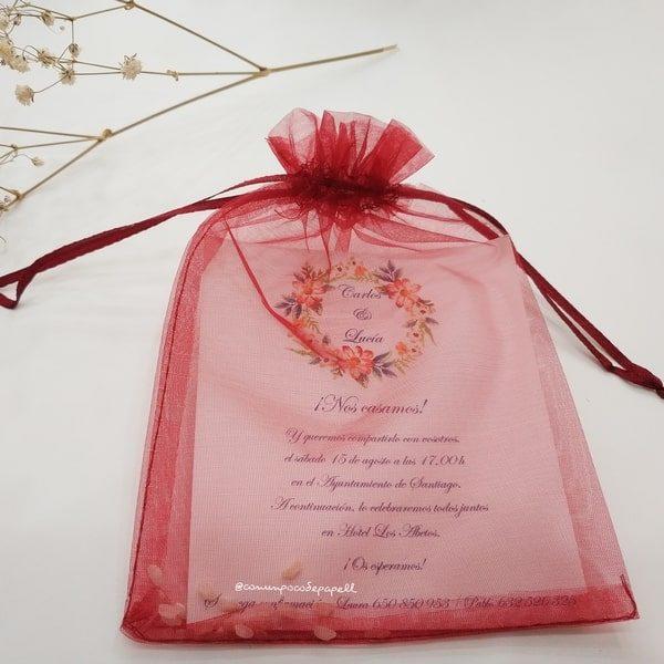 6193dd6ff Invitaciones boda originales con bolsa de organza - Con un poco de papel
